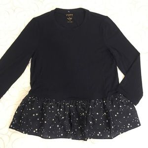 kate spade | Mixed Media Peplum Top S NWT